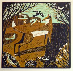 Fox and Birds, Mary Sumner, nature, wildlife, illustration, design, pattern, printmaking, print, lino, colour