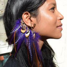 Feather Ear Cuff Purple - Burning Man Jewelry
