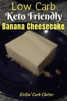 Low-Carb Keto-Friendly Sugar-Free Banana Cheesecake Recipe: This low-carb luscious cheesecake uses sugar-free instant banana pudding mix and sugar-free banana syrup to give a great banana taste. Sugar Free Cheesecake, Low Carb Cheesecake Recipe, Banana Pudding Cheesecake, Banana Pudding Recipes, Trifle Recipe, Low Carb Soup Recipes, Low Sugar Recipes, No Sugar Foods, Diet Recipes