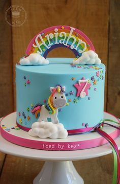 Unicorn Rainbow Cake - iced by kez #rainbowcake #unicorncake