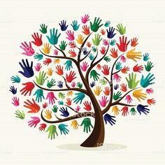 Diversidad ilustración de manos de árbol illustracion libre de derechos libre de derechos