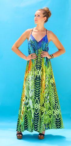 Lotta Stensson Reptile Rainbow Maxi Pocket Dress! #lottastensson #lottanyc #fashion #beachwear #resortwear #lottalove