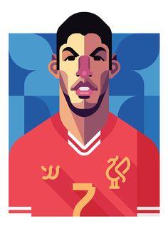 Luis Suárez, Liverpool FC   Football Players Vector Illustrations by Daniel Nyari.