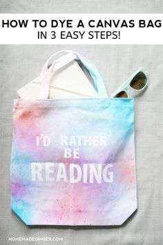 Dyeing canvas bags is easy and fun. This tie dye spray technique is perfect for bags made out of heavy canvas because no washing machine is required. Learn how to dye a canvas bag in 3 easy steps!