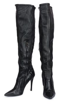 BURBERRY Over The Knee Leather Boots