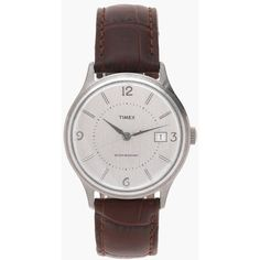 Timex® for J.Crew 1600 watch ($148) ❤ liked on Polyvore featuring jewelry, watches, leather-strap watches, j crew watches, j crew jewelry, stainless steel jewelry and american jewelry