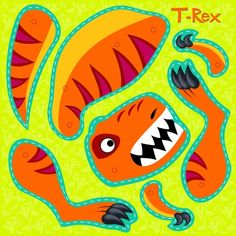 T- Rex with brads tempo libero: paper games--inspiration Dinosaur Activities, Dinosaur Crafts, Dinosaur Dinosaur, Crochet Dinosaur, Moving Dolls, Festa Jurassic Park, Diy For Kids, Crafts For Kids, Dinosaur Balloons