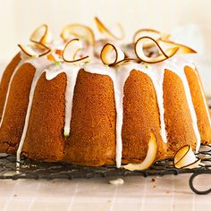 Lime-Infused Coconut Pound Cake:Topped with a citrus-coconut glaze, lime peel, and toasted coconut flakes, this twist on classic pound cake is sure to satisfy your sweet tooth. The luxurious pound cake gets tart flavor from fresh lime juice and a smooth, buttery texture from cream of coconut.