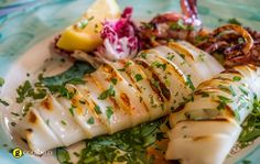 For a more extravagant dinner, try cooking squid on the grill.For the Chargrilled Whole Squid With Chile and Mint. Squid Recipes, Shellfish Recipes, Seafood Recipes, Cooking Recipes, Salsa Verde, Grilled Cod Recipes, Grilled Squid, Grilled Calamari, One Pot Dinners