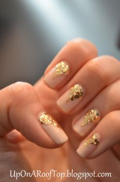 elegant white nails with gold - Google Search