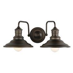 Shop allen + roth 2-Light Hainsbrook Aged Bronze Bathroom Vanity Light at Lowes.com