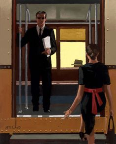 Jack Vettriano Passing Strangers Oil on canvas 15 x 12 inches