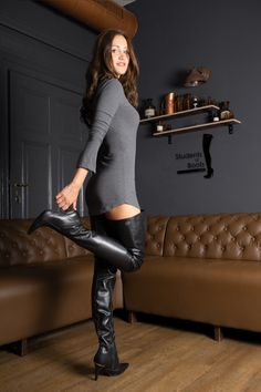 Black Boots Outfit, Sexy Boots, Thigh High Boots Heels, Hot High Heels, High Leather Boots, Hot Outfits, Fashion Boots, Casual, Women