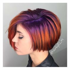 Rooted purple/violet into metallic copper/orange color melt, ombré effect, shadow root, vivid colors