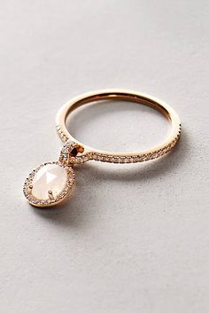 Moonstone and Diamond Pendant Ring in 14k Rose Gold