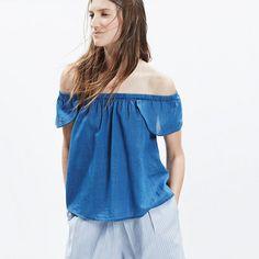 Indigo Cotton Off-the-Shoulder Top