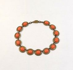 Antique Faux Coral Choker Necklace by KatsCache on Etsy, $24.95