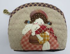 quilt girl Shinnie rabbit fabric coin cosmetic cell mobile phone pouch purse bag #Handmade #CosmeticBags