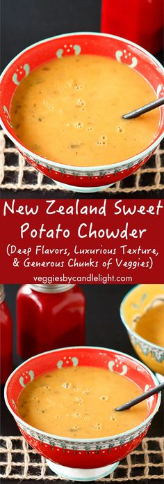 New Zealand Sweet Potato Chowder - A hearty main course with deep flavors, luxurious texture, and generous chunks of sweet potato, corn, & onion Kiwi Recipes, Soup Recipes, Vegan Recipes, Cooking Recipes, Onion Recipes, Vegan Food, International Recipes, Soup And Salad, Soups And Stews