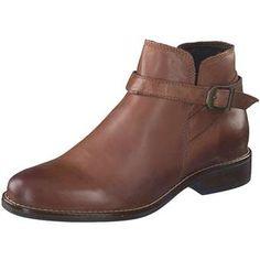 ... braun klassische Damen Stiefelette aus Leder mit Antik-Effekt kurzer  Reißverschluss innen umlaufender Deko-Riemen hell abgesetzte Sohlennaht  Blockabsatz ... 58a7742e4a