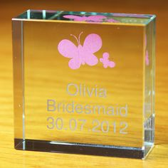 A cute personalised Pink Butterflies Crystal Token bridesmaid thank you gift and lovely memento of your wedding day - Olive and Finch