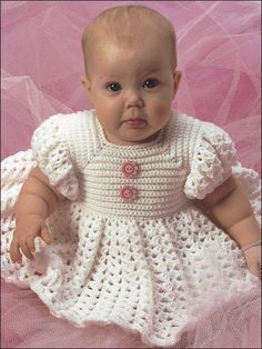Crochet - Patterns for Children & Babies - Dress Patterns - White Ruffled Baby Dress Crochet Pattern