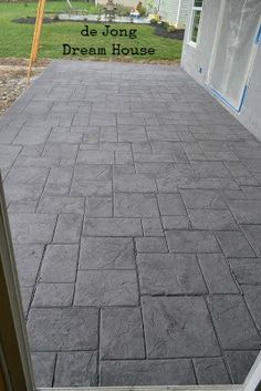 Our new stamped concrete back porch went in today. i love it! Our new stamped concrete back porch we Concrete Patio Designs, Concrete Porch, Concrete Driveways, Walkways, Stamped Concrete Patterns, Concrete Floor, Backyard Patio, Backyard Landscaping, Stone Walkway