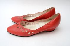 Vintage #red perforated scaloped shoes by #ZvezdanaVintage on Etsy, $28.00