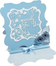 'Especially For You' - Verse Die from the Tattered Lace range. Available exclusively from hobbycraft. Tattered Lace Cards, Easel Cards, Create And Craft, Hobbies And Crafts, Cardmaking, Birthday Cards, Bridal Shower, Fancy, Diy Crafts