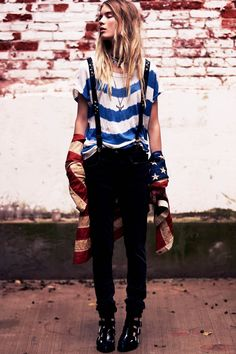 Elsa Sylvan Dons Americana Style for Free People Lookbook = Free People releases a new style book focusing on Americana style. Model Elsa Sylvan sports a wardrobe of casual denim, red, white and blue stripes, tie-dye prints and lots of bangles in the laid-back images lensed by Anthony Nocella.
