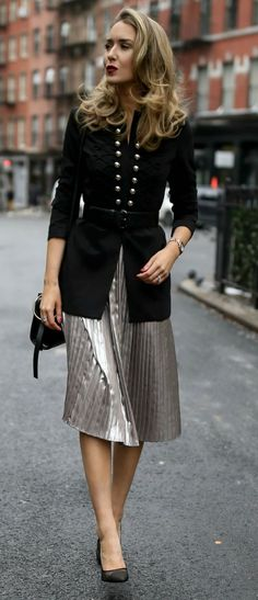 Military-inspired Holiday Outfit  // Pleated metallic midi skirt, military-inspired jacket with a black embossed waist belt, black shoulder bag, and black pumps {Tommy Hilfiger, Steve Madden, holiday style, classic style, workwear, what to wear, winter outfits, fashion blogger}