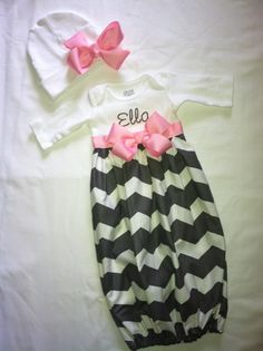 Personalized Chevron Infant Girls Coming Home Gown and bow with headband. $35.00, via Etsy.