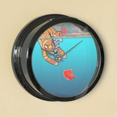 A little pet humor to make you smile every time you see it on your wall! Betta fish tank / wall clock combo.  http://www.zazzle.com/ginger_kitty_going_fishing_cartoon_aqua_clock-256119733894610978?rf=238389529266301639