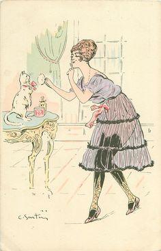 chica en ver a través de la falda, se enfrenta a la izquierda y toma el pelo del gato en la mesa con un soplo de polvo