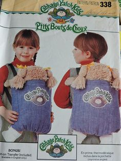 Cabbage Patch Kids Back Pack Doll Child's Backpack Vintage 1984 Dolls Butterick 338 / 6662 Pattern Carry All Fun Loving Accessory Baby Doll Carrier, Cabbage Patch Kids Dolls, Kids Patterns, Doll Patterns, Kids Backpacks, Vintage Sewing Patterns, Baby Wearing, Savannah, Sewing Projects