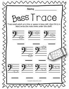 Music Worksheets - Bass Clef Note Names by Lindsay Jervis Music Lessons For Kids, Piano Lessons, Guitar Lessons, Bass Clef Notes, Piano Teaching, Learning Piano, Music Worksheets, Guitar Tutorial, Music Activities