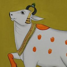 Cow Painting, Krishna Painting, Fabric Painting, Pichwai Paintings, How To Make Paint, Religious Art, Gold Paint, Indian Art, Cows