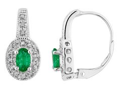 Emerald Earrings with Diamonds 4/5 Carat (ctw) in 10K White Gold