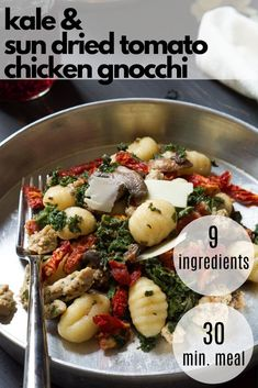If you are looking for a healthy one pan dinner, then you will love this kale chicken sausage and gnocchi recipe! Filled with Tuscan flavors, this easy chicken recipe is an easy family friendly dinner. And it is perfect for meal prep for the week! Quick Chicken Recipes, Healthy Pasta Recipes, Healthy Pastas, Healthy Food, Gnocchi Dishes, Gnocchi Recipes, Low Calorie Pasta, Easy Clean Eating Recipes, Recipes With Few Ingredients