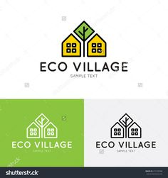 Eco Village Logo Design Template. Vector Real Estate Bio House Sign Logotype Icon. Bright Flat Ecologic Home Symbol With Green Tree. Organic Housing Label For Health Life - 475185988 : Shutterstock
