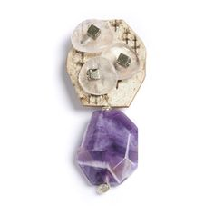 Brooch made with natural birchbark, rose quartz petals, pyrite and purple amethyst by Tessoro. American Made. See the designer's work at the 2016 American Made Show, Washington DC. January 15-17, 2016. americanmadeshow.com #brooch, #pin, #jewelry, #birchbark, #rosequartz, #pyrite, #amethyst, #americanmade, #americanmadeshow