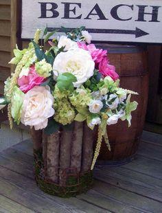Pine Log vase with p