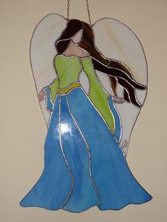 Tiffany Stained Glass Suncatcher Angel Lady by ArtesanaPL