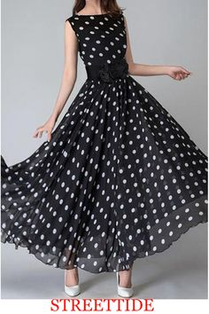 Ericdress offering cheap maxi dresses is worth your visit. Good quality maxi dresses for women on sale here, such as white floral long maxi dresses with sleeves. Maxi skirts are also good. Stylish Dresses, Cheap Dresses, Casual Dresses, Dresses Dresses, Polka Dot Maxi Dresses, Dot Dress, 1980s Dresses, Vintage Dresses, After Prom Dresses