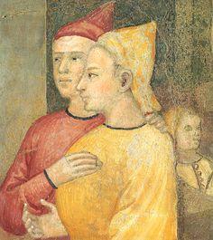 Ambrogio Lorenzetti - due cittadini (Gli Effetti del Buono Governo in città) - affresco - 1338-1339 - Siena - Palazzo Pubblico, Sala dei Nove o Sala della Pace
