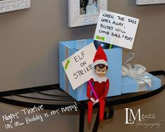 Elf on a shelf : Elf on strike- when the sass goes away, elf will come back and play.****Great ideas for elf, especially roasting mallows and the fan/swing. Great picture idea with the boy sleeping under the tree