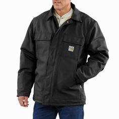 1b3e6242aa5 Carhartt X-Large Tall Dark Navy 13 Ounce Cotton Duck Flame Resistant Traditional  Coat With Zipper Closure