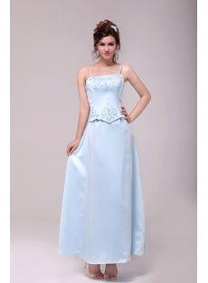 Vintage Spaghetti Straps Sky Blue Embroidery Bridesmaid Dress