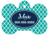 Personalized Blue Quatrafoil Pet Tag (Spring Time Design 14) with Steelheart Font