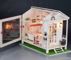 Dollhouse Miniature DIY Kit w Light Beach House Bedroom Sweet Villa Romantic